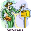 Vector Clipart picture  of a woman mailing a letter