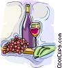 Vector Clipart picture  of a wine bottle with grapes and