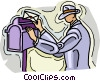 Vector Clipart graphic  of a man mailing a letter