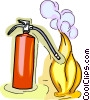 Vector Clipart illustration  of a fire extinguisher putting out