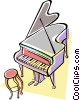 grand piano Vector Clipart graphic