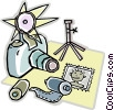 camera, film, camera stand, picture Vector Clipart graphic