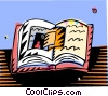 books and literacy, doorways to new worlds Vector Clipart graphic