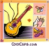 Vector Clip Art picture  of a guitar with flamenco