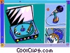 Vector Clipart picture  of a turntable with headphones and