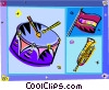 Vector Clipart graphic  of a drum with horn and flag