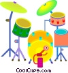 Vector Clip Art image  of a drum set
