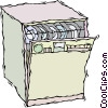 Vector Clipart graphic  of a dishwasher