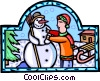 Vector Clip Art picture  of a building a snowman