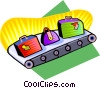 Vector Clip Art image  of a conveyor belt with luggage