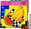 Vector Clip Art graphic  of a Bananas with oranges and