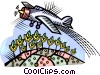 Vector Clipart graphic  of an airplane crop dusting