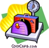 Vector Clip Art graphic  of a weight scale with luggage