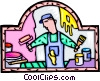 Vector Clip Art image  of a painter painting