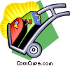 Vector Clipart graphic  of a hand dolly with luggage