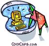 business computer pearl inside an oyster shell Vector Clipart graphic