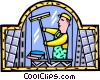 Vector Clip Art image  of a washing the windows