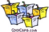 Vector Clipart illustration  of a people reading the newspaper