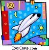 Vector Clip Art graphic  of a Space shuttle