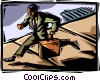 Vector Clipart image  of a businessman running