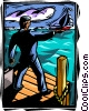 Vector Clipart graphic  of a businessman watching his ship