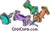 Vector Clip Art graphic  of a push pins