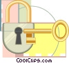 lock and key, pad lock Vector Clipart illustration