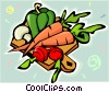 Carrots, peppers, mushrooms, on cutting board Vector Clip Art graphic