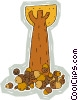 acorns beneath a tall oak tree Vector Clipart picture