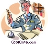 hotel desk clerk Vector Clipart illustration