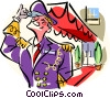 Vector Clip Art image  of a doorman
