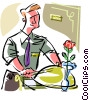 Vector Clip Art picture  of a room service