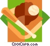 Baseball glove and bat Vector Clip Art picture