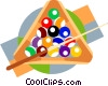 billiard balls and cue Vector Clip Art graphic