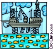 oil rig in a delicate balance with nature Vector Clipart picture