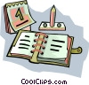 Vector Clip Art picture  of a scheduler with calendar and