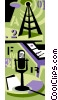 radio microphone with transmission tower Vector Clipart picture