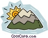 Vector Clipart graphic  of a sun rising over a mountain