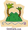 tropical island with palm trees Vector Clipart illustration