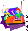 children on the bumper cars Vector Clipart illustration