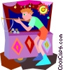 boy shooting cork gun at carnival Vector Clipart image