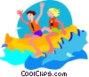 Vector Clip Art image  of a couple riding sea biscuit