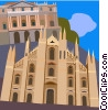 The Duomo in Milan, Italy, La Scala Opera House Vector Clipart illustration