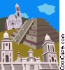 Pyramid Des Niches, Mexico Vector Clipart illustration