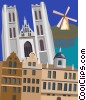 Vector Clip Art graphic  of a Saint Michel's Cathedral, Brussels