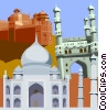 Vector Clip Art graphic  of a India's Taj Mahal