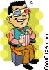 Vector Clipart illustration  of a Man watching a movie with 3D