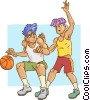 Basketball player dribbling ball with defender Vector Clip Art graphic