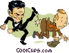 Vector Clipart graphic  of a kicked out