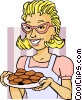 Mom serving cookies Vector Clip Art image